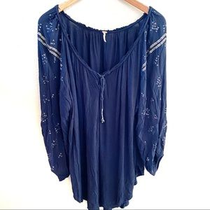 Free People tunic with tassels and sleeve detail S